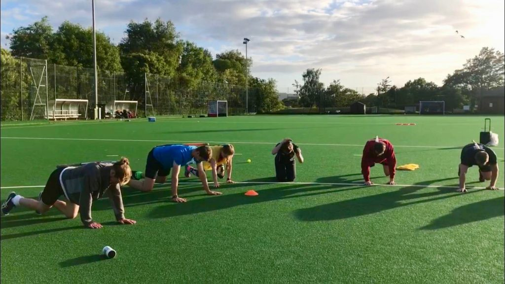 ESM Hockey Club adult players at mixed fitness training in Edinburgh