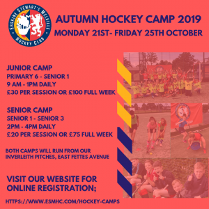 ESM Hockey Club Youth Hockey camps for Autumn 2019